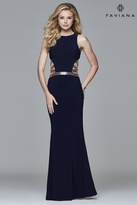 Faviana 7912 Jersey scoop neck evening dress with side cutouts