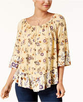 Style&Co. Style & Co Printed Flounce Hem Top, Created for Macy's