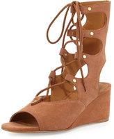 Chloé Suede Gladiator Wedge Sandal, Camel