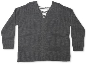 Full Circle Trends Trendy Plus Size Lace-Up-Back Sweater