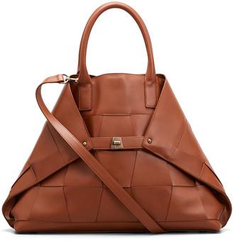 Akris Ai Medium Woven Top Handle Tote Bag