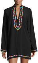 Nanette Lepore Mambo Contrast-Trim Cover-up, Black