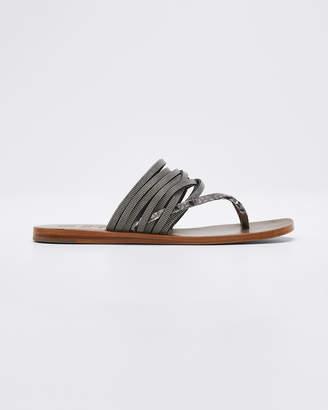 Brunello Cucinelli Textured and Monili Sandals
