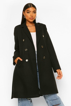 boohoo Tall Belted Wool Look Coat