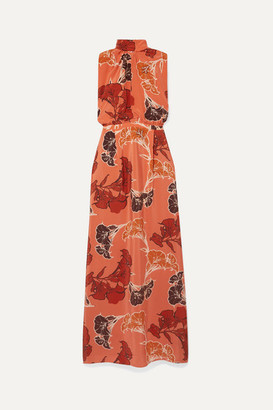 Johanna Ortiz Momentum Embellished Floral-print Silk Crepe De Chine Maxi Dress - Orange
