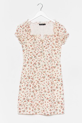 Nasty Gal Womens Tongue Tied Floral Lace-Up Dress - Cream