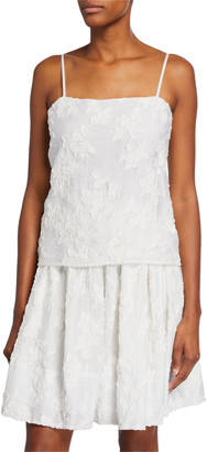 Vince Square-Neck Textured Floral Camisole