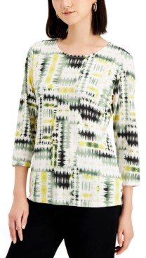 JM Collection Petite Printed Jacquard 3/4-Sleeve Top, Created for Macy's