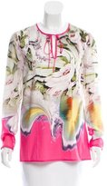 Vera Wang Printed Long Sleeve Blouse