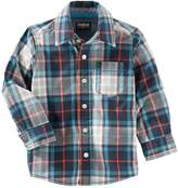 Osh Kosh Boys' 2-7 Long Sleeve Woven Plaid Shirt