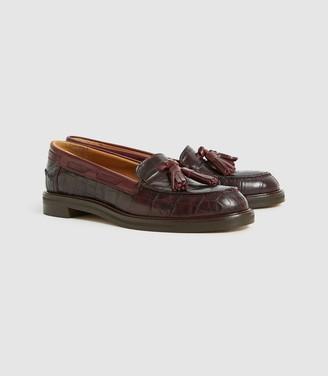 Reiss FARAH Croc Embossed Leather TASSEL LOAFERS Pomegranate
