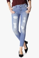 7 For All Mankind The Ankle Skinny With Destroy In Light Blue