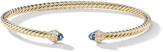 David Yurman 18kt yellow gold Cable Spira topaz cuff