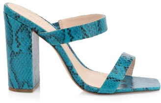 Schutz Maribel Snakeskin-Embossed Leather Mules