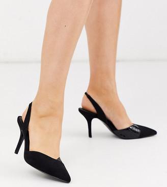 ASOS DESIGN Wide Fit Whitby slingback mid-heels in black