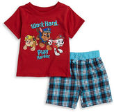 Nannette Baby Boys Baby Boys Paw Patrol Tee and Plaid Shorts Set