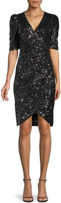 Calvin Klein Short-Sleeve V-Neck Sequin Dress
