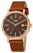 Edwin EPIC Women's Rose Gold-Tone Stainless Steel 3-Hand Date Watch with Light Genuine Leather Band and Dial