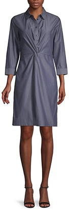 Lafayette 148 New York Striped Cotton Shirtdress