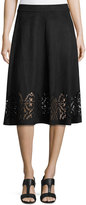 Neiman Marcus Faux-Suede Flared Midi Laser-Cut Skirt, Black