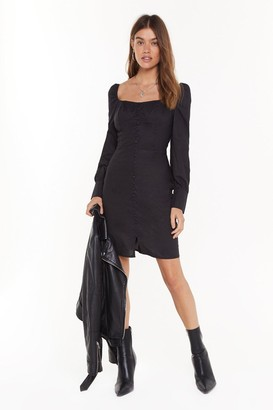 Nasty Gal Womens Button Be Me Square Neck Cupped Dress - Black - 4, Black