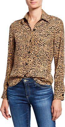 HVN Cristina Button-Down Tiger-Print Blouse