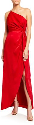 Aidan Mattox One-Shoulder Draped Charmeuse Column Gown