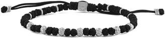 Tateossian Silver Macrame Braid Beaded Bracelet