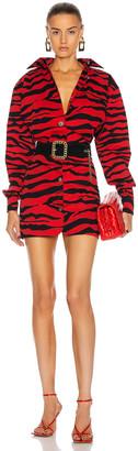 ATTICO Button Down Zebra Mini Dress in Red & Black | FWRD