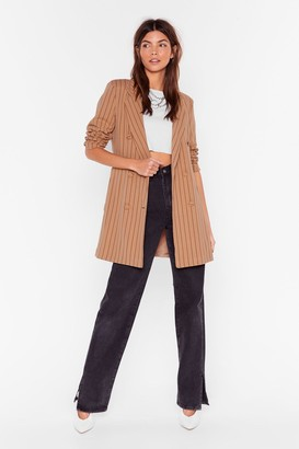 Nasty Gal Womens Just in Line Pinstripe Belted Blazer - beige - L