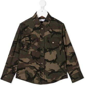 BRUNELLO CUCINELLI KIDS Camouflage-Print Two-Pocket Shirt