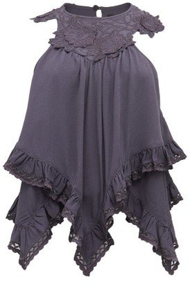Isabel Marant Lupita Embroidered Crepe Top - Black