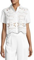 RED Valentino Short-Sleeve Embroidered Muslin Crop Top, White