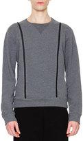 Maison Margiela Crewneck Sweatshirt with Zipper Details, Gray
