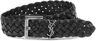 Saint Laurent Monogram braided leather belt