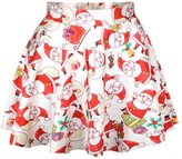 Cfanny Women's Holiday Christmas Santa Xmas Print Mini Flared Tutu Skirt,White