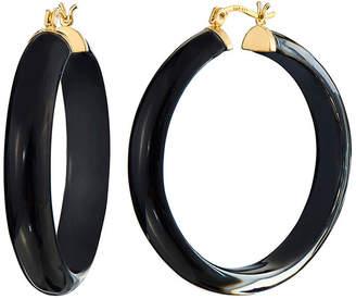 Gold & Honey Round Hoop Illusion Earrings, Black Onyx