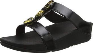 FitFlop Women's Fino Metallic Fleck Stone H Slides Open Toe Sandals