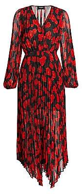 The Kooples Women's Floral Pleated Handkerchief Wrap Dress