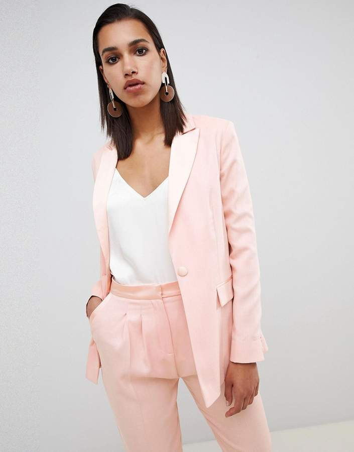 Asos Design DESIGN tailored satin contrast blazer two-piece-Pink
