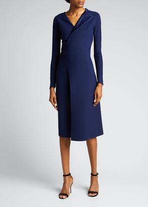 Chiara Boni V-Neck Satin Lapel Flap Skirt Dress