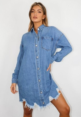 Missguided Tall Blue Oversized Denim Shirt Dress