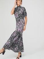 Very Mixed Print Asymmetric Seam Midi Dress - Purple