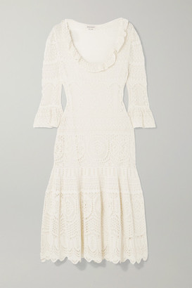 Alexander McQueen Ruffled Crocheted Cotton-blend Midi Dress - Ivory