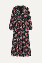 Saloni Venyx Ginny Ruffled Printed Silk Crepe De Chine Midi Dress - Black
