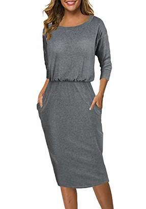 Church's Moyabo Women Pullover Pocket 3/4 Long Sleeve Round Neck Business Office Work Formal Dress with Pockets Grey
