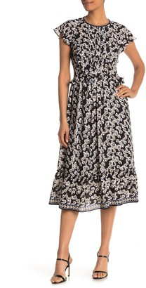 Max Studio Printed Ruffle Midi Dress