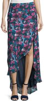Haute Hippie High-Low Asymmetric Floral-Print Silk Skirt