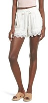Moon River Women's Lace Hem Shorts