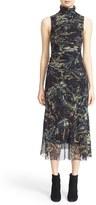 Fuzzi Women's Print Tulle Turtleneck Dress